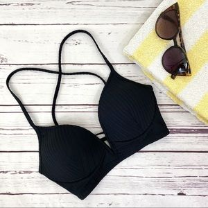 Shade & Shore Ribbed V-Bone Bikini Top 34B